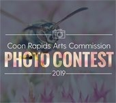 Coon Rapids Arts Commission Photo Contest 2019 Logo with icon of camera placed over a close-up photo of a bee on a flower