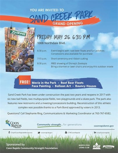 Movie in the Park and Sand Creek Grand Opening