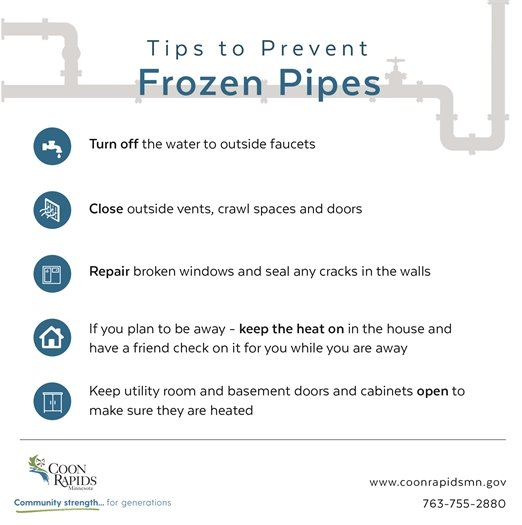 Tips to prevent frozen pipes graphic