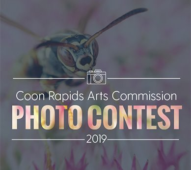Close up of an insect on a flower behind a camera icon and the words: Coon Rapids Arts Commission Photo Contest 2019