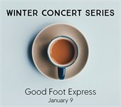 """Photo of coffee cup titled """"Winter Concert Series: Good Foot Express, January 9"""""""