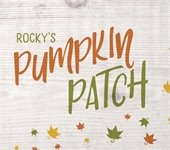 Rocky's Pumpkin Patch written in green and orange with falling leaves