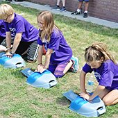 Safety Camp students learning CPR