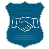 Police Badge with Hands Clasped