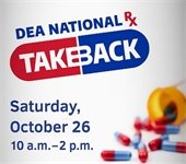 DEA National Rx Take Back with pills spilling out of bottle
