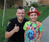 Police offer and a child