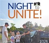 Night to Unite logo with picture of police officer and children