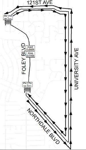 Map of Foley Boulevard closure and detour on University Avenue
