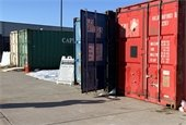 Large storage containers outside the recycling center