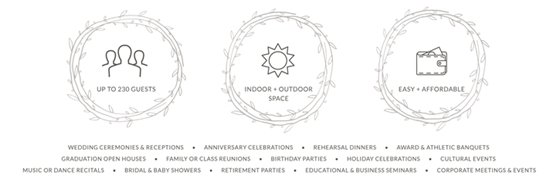 Uo to 230 Guests. Indoor and outdoor space. Easy and affordable.