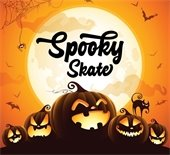 Spooky Skate logo with jack o' lanterns and cobwebs