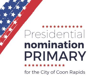 Presidential Nomination Primary title with red, white & blue stars & stripes