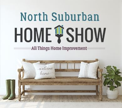 North Suburban Home Show logo with paintbrush and picture of a home entryway bench