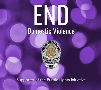 End Domestic Violence, Coon Rapids Police Supporter of the Purple Lights Initative