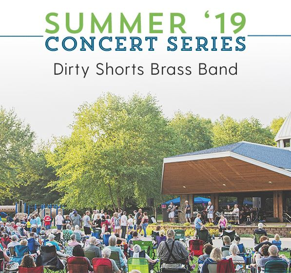 Summer Concerts 2019 logo featuring Dirty Shorts Brass Band above a photo of large crowd at an outdo