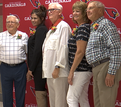 Five Hall of Fame recipients pose for a photograph