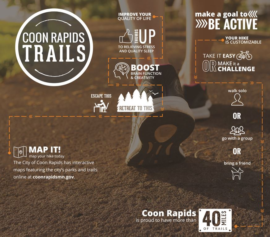 Enjoy a walk through trails in Coon Rapids
